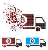 Consegna di semitono decomposta Lorry Icon di Bitcoin del pixel Fotografia Stock Libera da Diritti