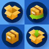 Consegna e liberamente ritorno dei regali o dei pacchetti Icona di concetto di trasporto per il deposito Immagini Stock Libere da Diritti