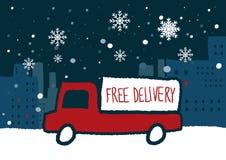 Consegna gratuita con i fiocchi di neve Fotografia Stock Libera da Diritti