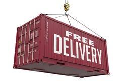 Consegna gratuita - contenitore di carico d'attaccatura rosso Fotografie Stock Libere da Diritti