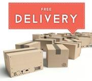 Consegna gratuita di trasporto con le scatole di cartone Fotografie Stock