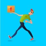 Consegna gratuita veloce Funzionamenti del corriere con la scatola sull'ordine Caratteri variopinti in uno stile piano Fotografia Stock Libera da Diritti