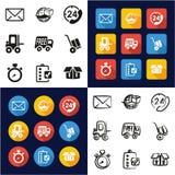 Consegna o spedire tutta in un insieme a mano libera di progettazione piana bianca e nera di colore delle icone Fotografia Stock Libera da Diritti
