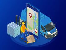 Consegna precisa, libera, veloce online isometrica, concetto di spedizione Controllo del servizio di distribuzione app del telefo Fotografia Stock
