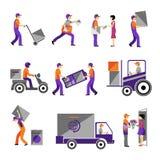 Consegna, servizio corriere, trasporto della persona logistico Immagine Stock Libera da Diritti