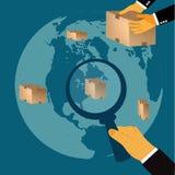 Consegna, trasporto, concetto, illustrazione di vettore nella progettazione piana per i siti Web, progettazione di Infographic Immagine Stock