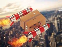 Consegna veloce del pacchetto dal razzo di turbo rappresentazione 3d Immagini Stock