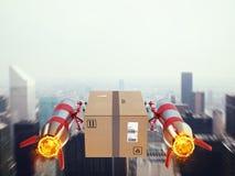 Consegna veloce del pacchetto dal razzo di turbo rappresentazione 3d Fotografia Stock