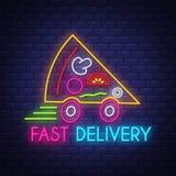 Consegna veloce della pizza - vettore dell'insegna al neon sul fondo del muro di mattoni illustrazione di stock