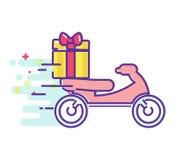 Consegna veloce di alimento su un ciclomotore Fotografia Stock