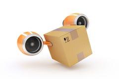 Consegna veloce di carico in una scatola di cartone su un fondo bianco Fotografie Stock Libere da Diritti