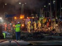 Conseguenze dell'esplosione sulla strada di Hinckley immagini stock