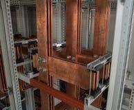 Conseil électrique de puissance élevée avec les barres de cuivre Images libres de droits