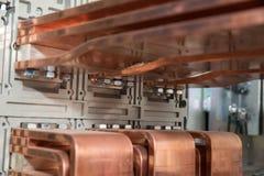 Conseil électrique de puissance élevée avec les barres de cuivre Images stock