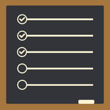 Conseil avec pour faire des lignes de liste avec des cases à cocher liste de contrôle pour pas Photographie stock libre de droits