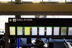 Conseil Dallas Fort Worth Texas de l'information de vol de départ photographie stock libre de droits