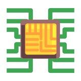 Conseil de Chip Plugged To The Maternal d'ordinateur, une partie de série robotique et informatique futuriste de la Science d'icô illustration libre de droits