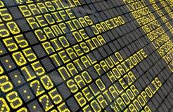 Conseil de départ d'aéroport avec les destinations brésiliennes Photos libres de droits
