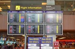 Conseil de départ dans l'aéroport de Changi Photographie stock