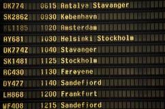 Conseil de l'information de départs d'aéroport Photo stock