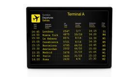 conseil de l'information du départ 3d à l'aéroport illustration stock