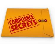 Conseil de secrets de conformité après enveloppe jaune de règles Image stock