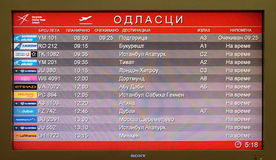 Conseil de vol à l'aéroport dans l'aéroport de Belgrade, Serbie Photo libre de droits