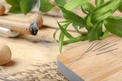 Conseil en bois avec des aiguilles pour l'acuponcture images libres de droits