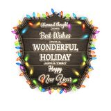 Conseil en bois avec des attributs de Noël ENV 10 Photographie stock