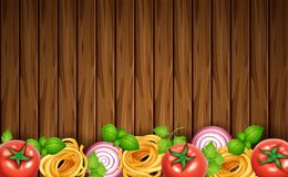 Conseil en bois avec des pâtes et des légumes frais illustration de vecteur