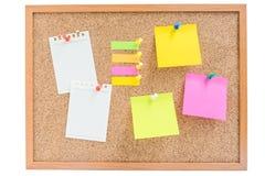 conseil en bois avec les notes et le papier collants colorés Images libres de droits