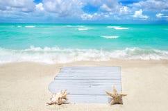 Conseil en bois blanc avec le coquillage et étoiles de mer sur la plage sablonneuse Image stock