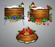 Conseil en bois de Noël de vecteur Photographie stock