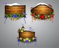 Conseil en bois de Noël de vecteur Photo stock