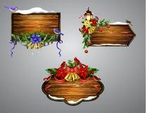 Conseil en bois de Noël de vecteur Image libre de droits