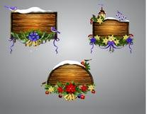 Conseil en bois de Noël de vecteur Photos libres de droits
