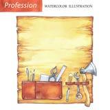 Conseil en bois peint à la main avec des outils de charpentier Profession, illustration de passe-temps Travail du bois d'aquarell Images stock