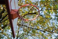 Conseil et cercle de basket-ball en parc Photographie stock libre de droits