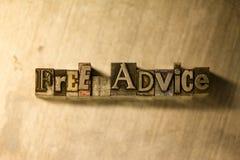 Conseil gratuit - signe de lettrage de typographie en métal Photo stock