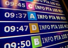 Conseil moderne de l'information d'aéroport avec les portes diverses Images libres de droits