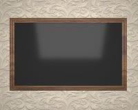 Conseil noir dans un cadre brun pour dessiner et enregistrer Photographie stock libre de droits