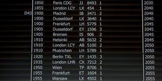 Conseil noir de départ dans l'aéroport Image stock