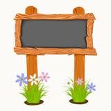 Conseil pédagogique en bois avec des fleurs et des papillons Photo stock