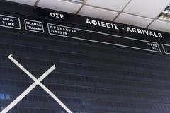 Conseil vide de programme à la gare ferroviaire à Athènes Photo stock