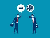 Conseils de offre d'homme d'affaires au collègue confus au sujet de direct illustration libre de droits