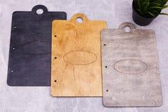 Conseils en bois avec des conceptions ovales photos libres de droits