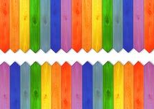 Conseils en bois multicolores en couleurs d'arc-en-ciel Photographie stock