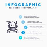 Consejero del robot, consejero, consejero, algoritmo, icono de Line del analista con el fondo del infographics de la presentación stock de ilustración