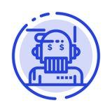 Consejero del robot, consejero, consejero, algoritmo, línea icono de Blue Dotted Line del analista ilustración del vector