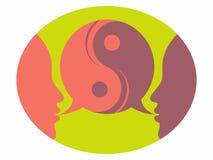 Consejero y bustos parlantes pacientes en consejo de la discusión de la terapia que aconsejan el logotipo de la marca del servici ilustración del vector